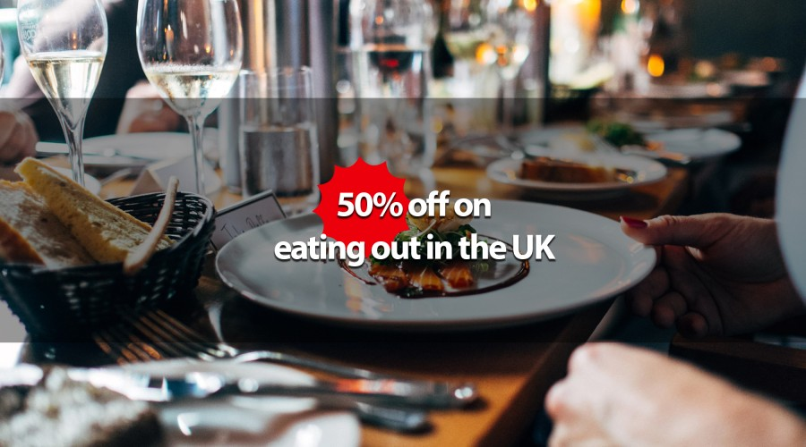 50% off on eating out in the UK
